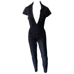 Azzedine Alaia Chenille Bodycon Playsuit Catsuit Jumpsuit