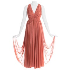 Azzedine Alaia coral jersey pleated Grecian evening dress, ss 1991