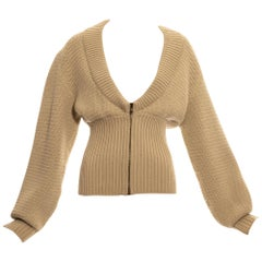 Azzedine Alaia cream knit wool cardigan with zipper, fw 1985