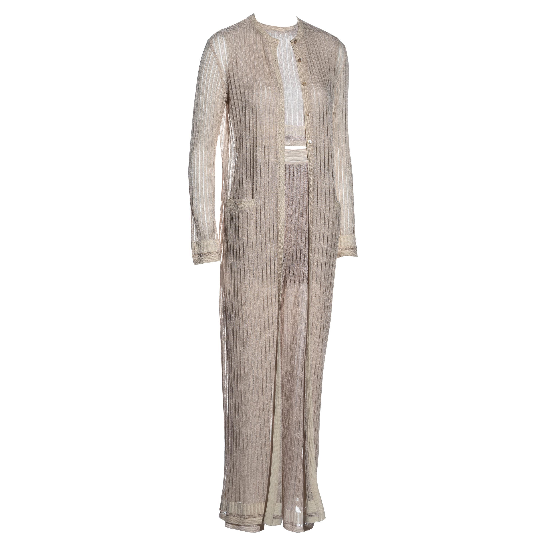 Azzedine Alaia cream rayon knit 5 piece pant suit set, ss 1992