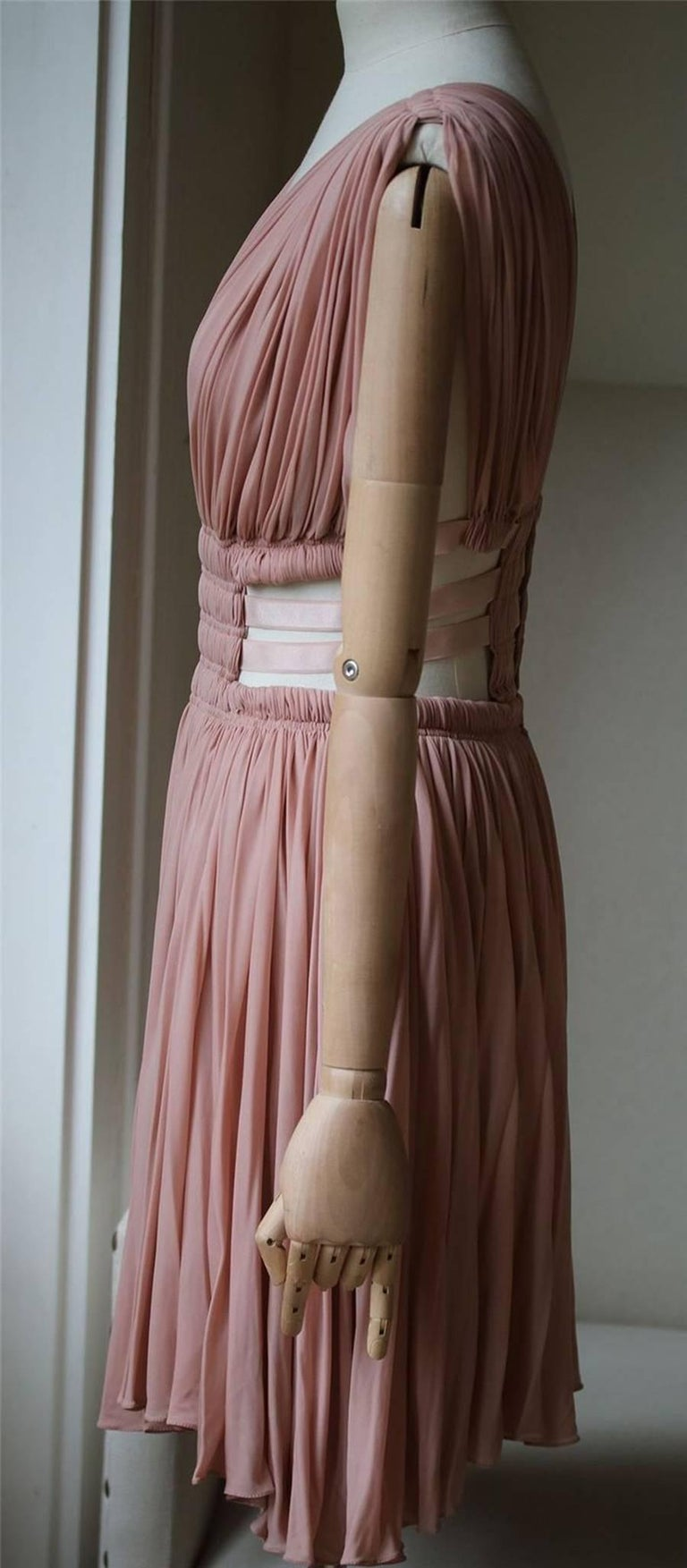 Brown Azzedine Alaia Cut-Out Pleated Dress For Sale