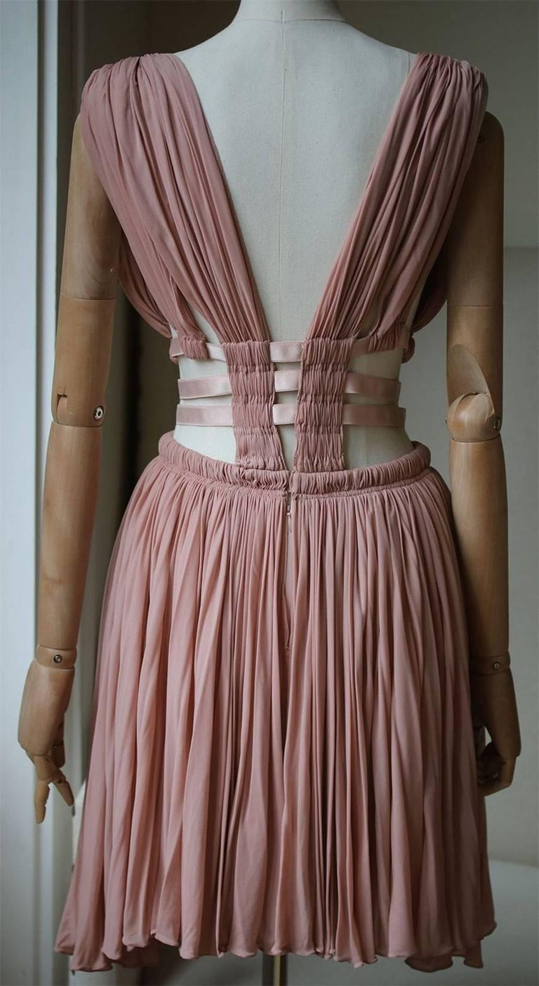 Azzedine Alaia Cut-Out Pleated Dress In Excellent Condition For Sale In London, GB