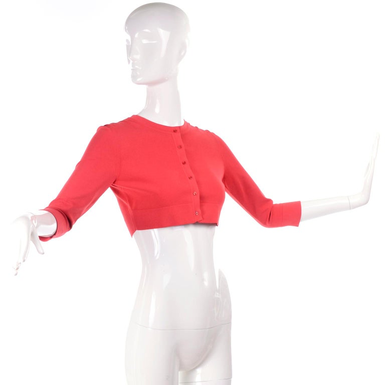 Azzedine Alaia Deep Coral Cropped Crew Neck Sweater w/ 3/4 Length Sleeves In Excellent Condition For Sale In Portland, OR