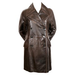 Azzedine Alaia distressed brown double breasted leather coat