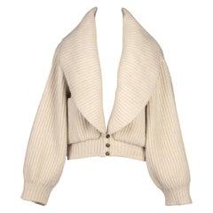 Azzedine ALAÏA Documented Ivory Wool Knit Runway Cardigan Jacket, F/W 1984-85