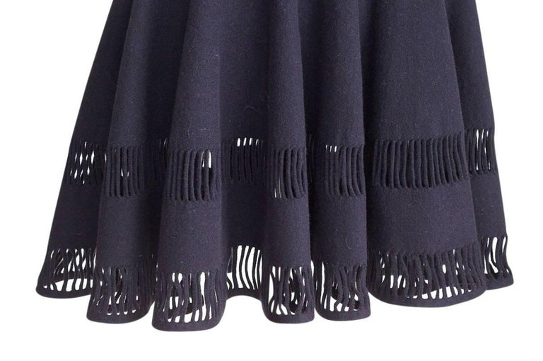 Azzedine Alaia Dress Navy Skater Skirt Laser Cut Hem 38 / 4  nwt Gorgeous In New Never_worn Condition For Sale In Miami, FL