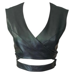 Azzedine Alaia F/W 1983 Vintage Leather Cutout Wrap Top