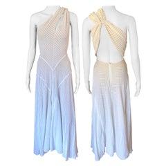 Azzedine Alaïa F/W 1988 Runway Vintage Cutout Semi-Sheer Ivory Gown Maxi Dress