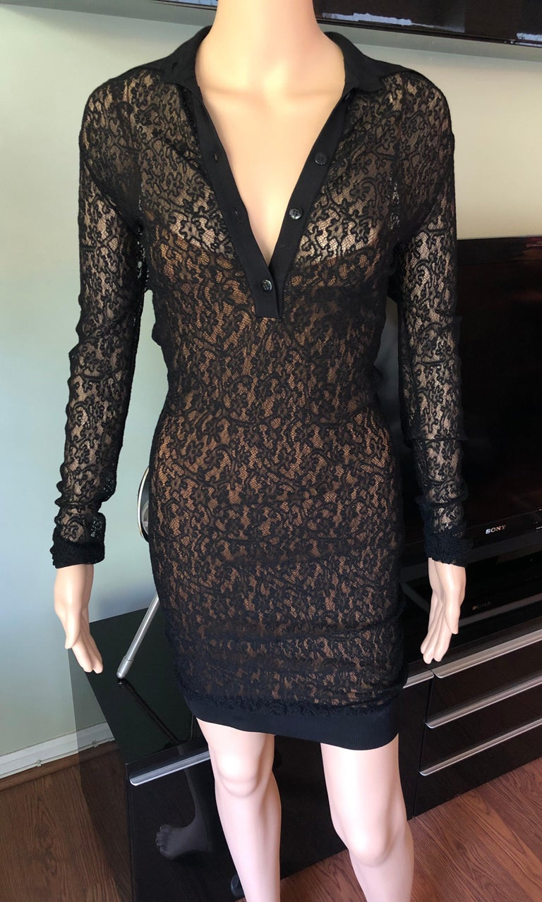 Azzedine Alaia F/W 1990 Vintage Bodycon Sheer Lace Mini Dress Size M  Vintage Alaïa sheer lace mini dress featuring collar with button closures at center front, black lace overlay, nude sleeveless lining, long lace sleeves and ribbed trim around