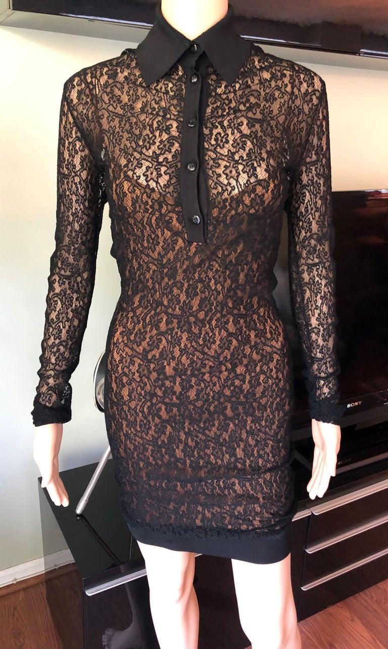 Azzedine Alaia F/W 1990 Vintage Bodycon Sheer Lace Mini Dress In Good Condition For Sale In Totowa, NJ