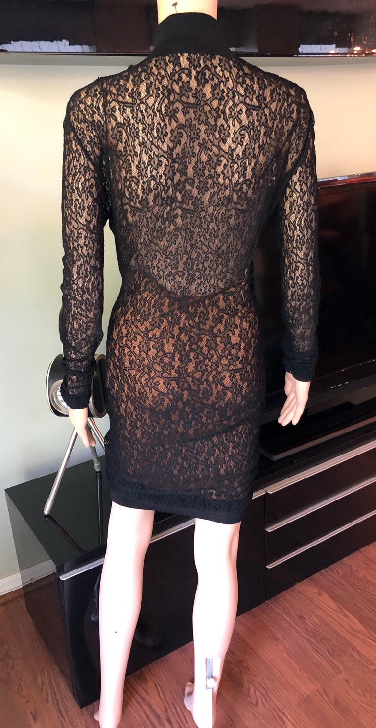 Azzedine Alaia F/W 1990 Vintage Bodycon Sheer Lace Mini Dress For Sale 1