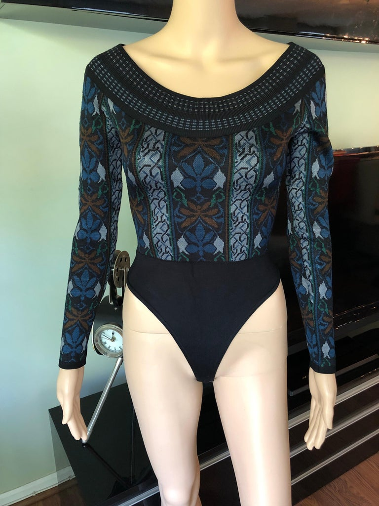 Azzedine Alaia F/W 1990 Vintage Knit Bodysuit XS  Alaïa vintage knit bodysuit with abstract pattern throughout, scoop neck and snap closures at inseam.
