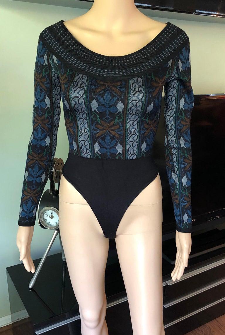 Black Azzedine Alaia F/W 1990 Vintage Knit Bodysuit For Sale