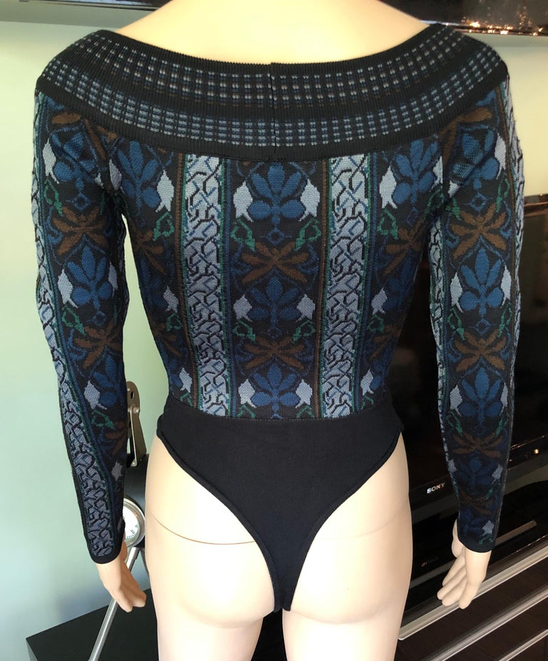 Azzedine Alaia F/W 1990 Vintage Knit Bodysuit In Good Condition For Sale In Totowa, NJ