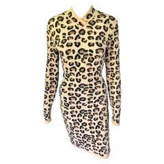 Azzedine Alaia F/W 1991 Runway Vintage Iconic Leopard Print Bodycon Dress