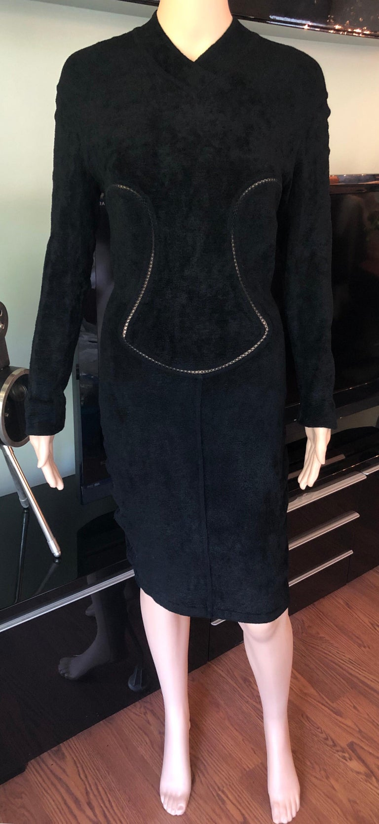 Azzedine Alaia F/W 1991 Vintage Bodycon Velvet Knit Black Dress Size M  Alaïa heavy knit velvet dress with open knit trim throughout, V-neck, long sleeves and concealed zip closure at center back.