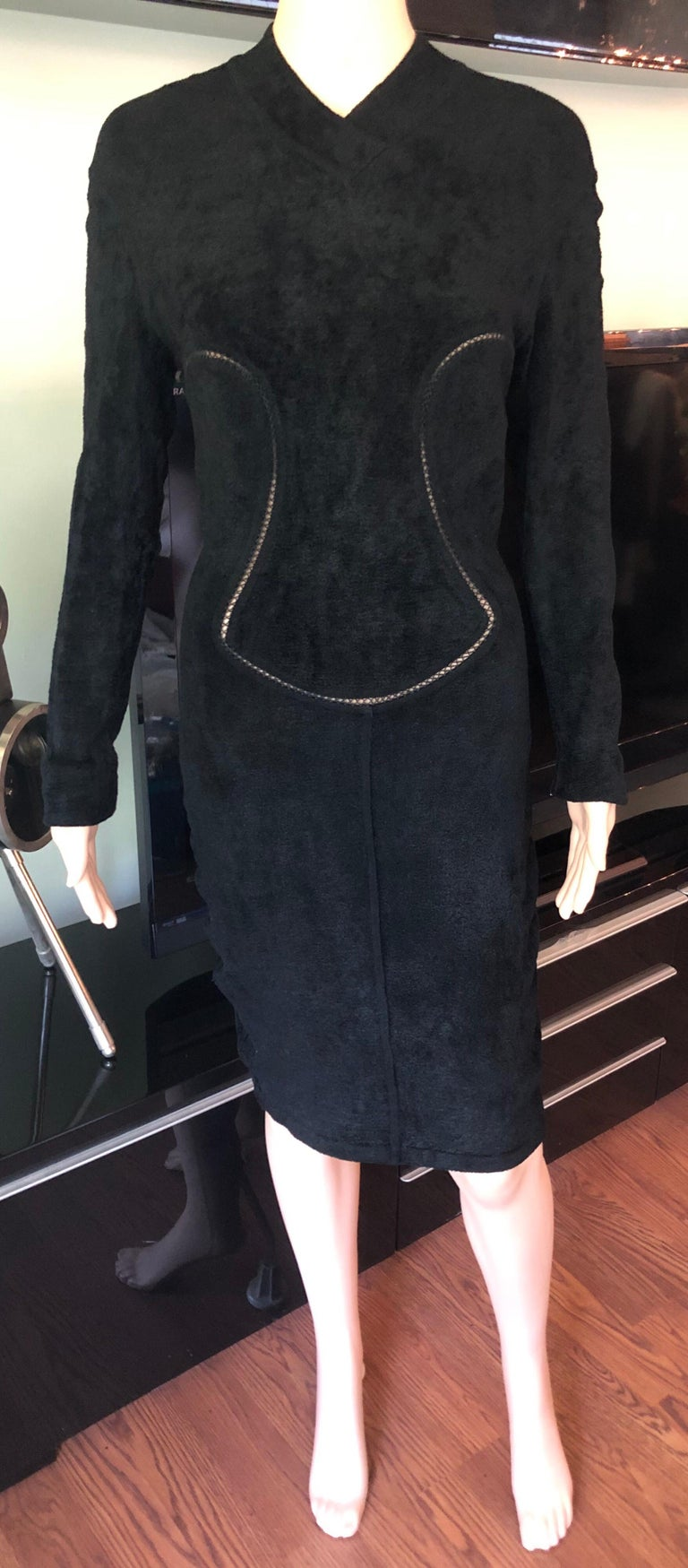 Azzedine Alaia F/W 1991 Vintage Bodycon Velvet Knit Black Dress In Good Condition For Sale In Totowa, NJ