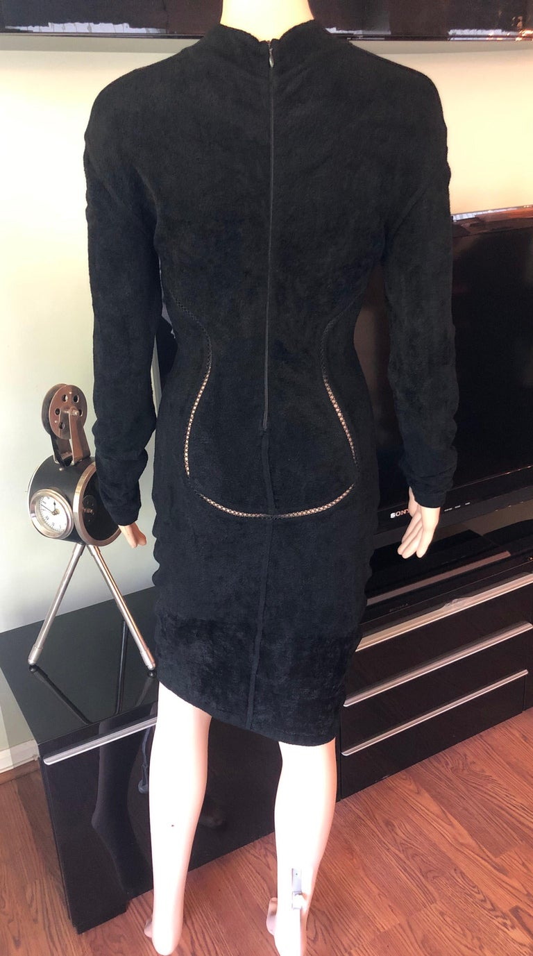 Azzedine Alaia F/W 1991 Vintage Bodycon Velvet Knit Black Dress For Sale 1