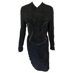 Azzedine Alaia F/W 1991 Vintage Bodycon Velvet Knit Black Dress