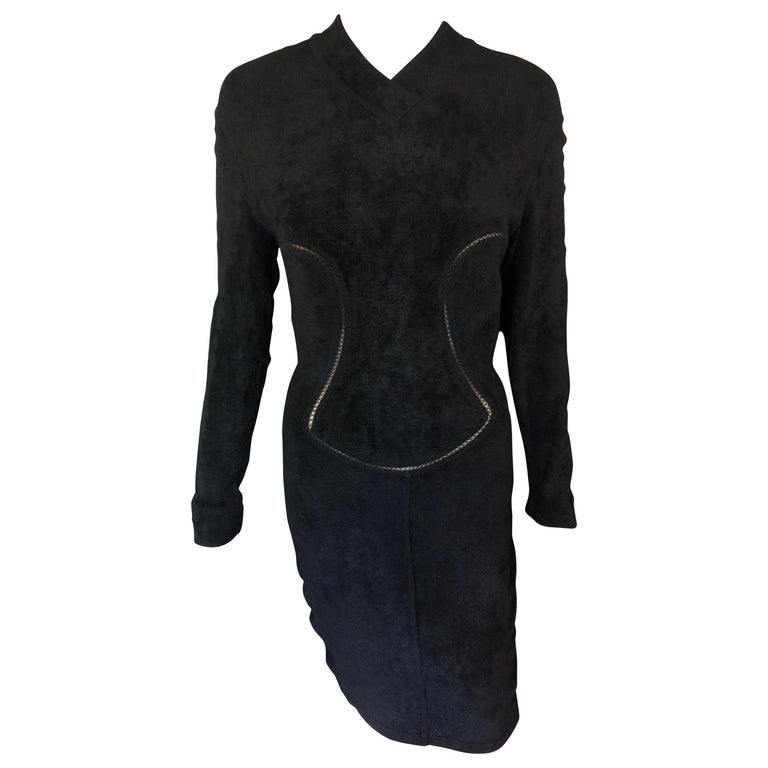 Azzedine Alaia F/W 1991 Vintage Bodycon Velvet Knit Black Dress For Sale