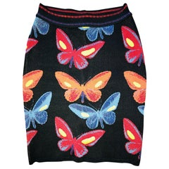 Azzedine Alaia F/W 1991 Vintage Butterfly Print Fitted Skirt
