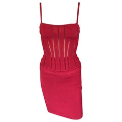 Azzedine Alaia F/W 1991 Vintage Skirt and Bustier Corset Top 2 Piece Set