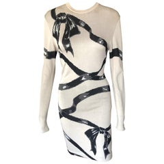 Azzedine Alaia F/W 1992 Runway Vintage Fitted Bow Ribbon Wrapped Dress