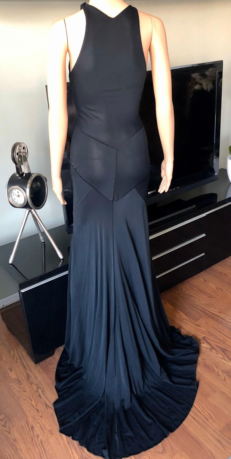 Azzedine Alaïa F/W 2001 Semi-Sheer Black Gown Maxi Dress In Excellent Condition For Sale In Totowa, NJ