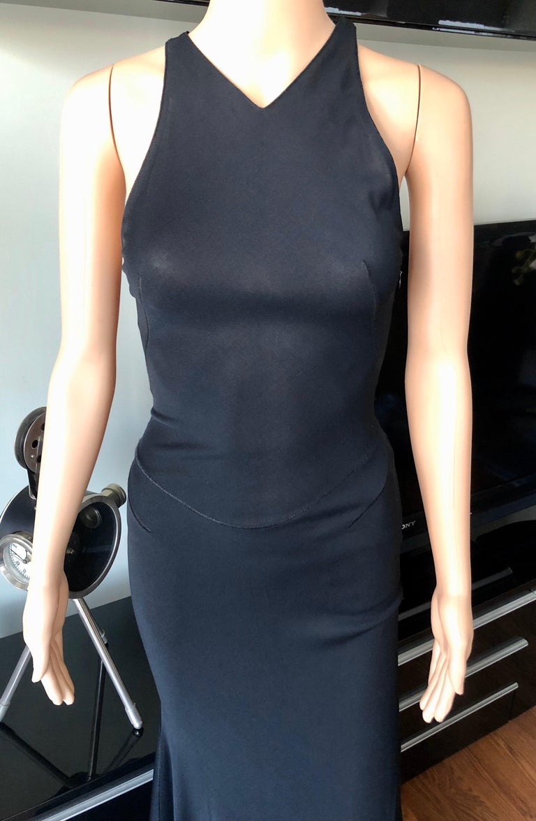Azzedine Alaïa F/W 2001 Semi-Sheer Black Gown Maxi Dress For Sale 1
