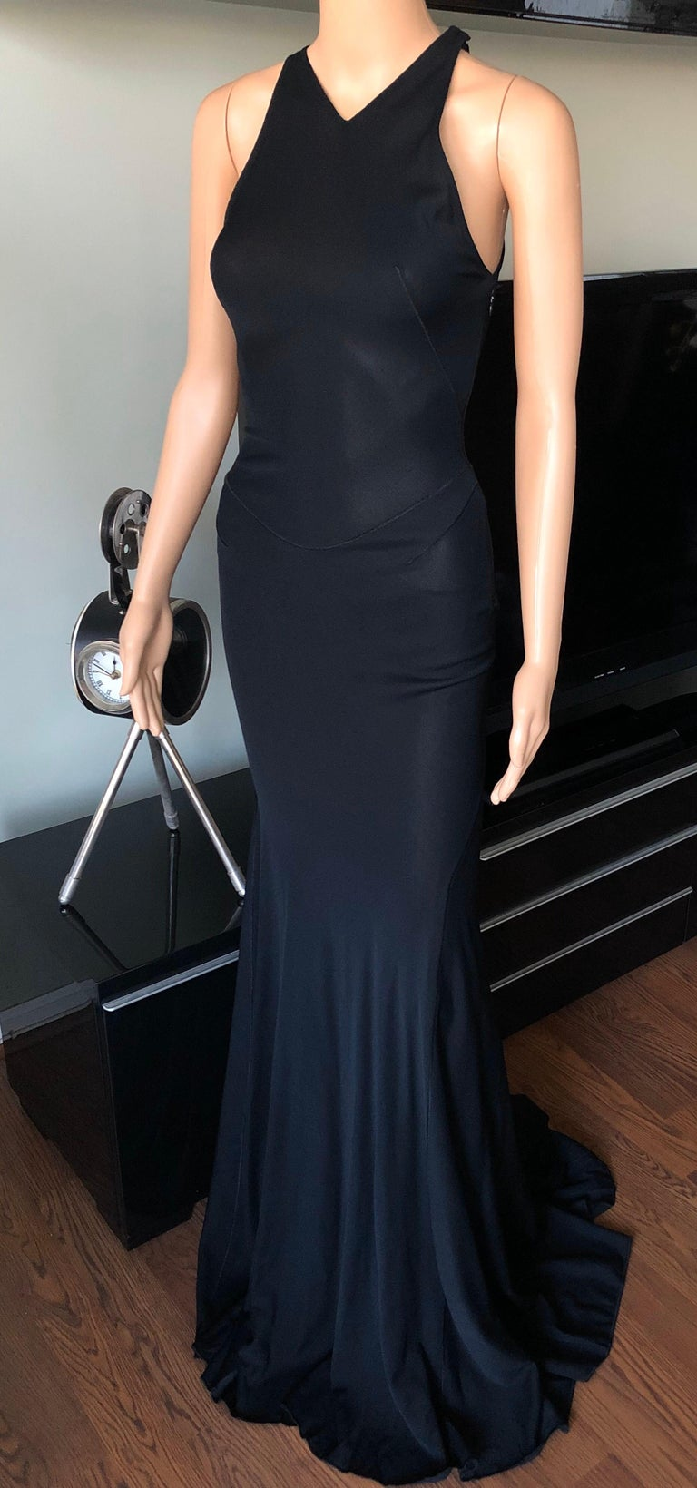 Azzedine Alaïa F/W 2001 Semi-Sheer Black Gown Maxi Dress For Sale 2