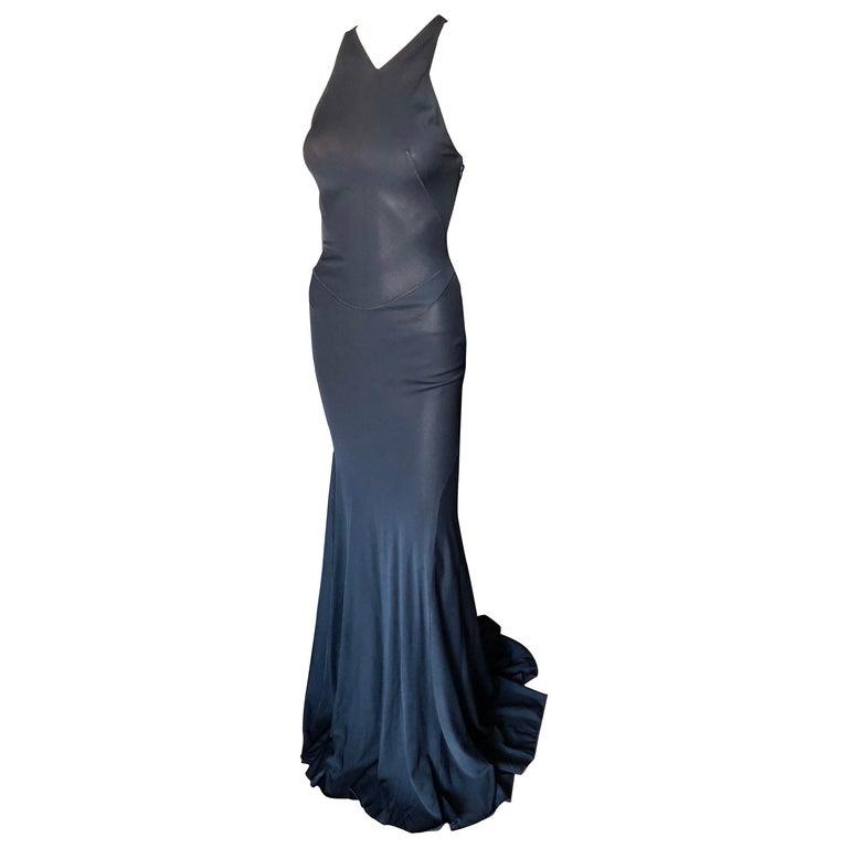Azzedine Alaïa F/W 2001 Semi-Sheer Black Gown Maxi Dress For Sale