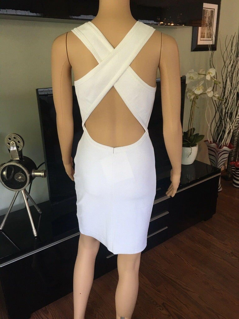 Azzedine Alaia Fitted Open Back White Dress In Excellent Condition For Sale In Totowa, NJ
