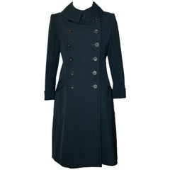 Azzedine Alaïa Fitted Wool Double-breasted Prussian Blue Coat