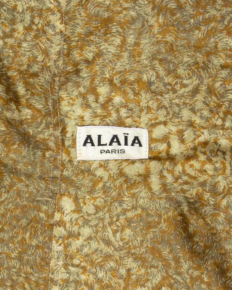 Azzedine Alaia gold silk mid-length evening dress, ss 1987  For Sale 5