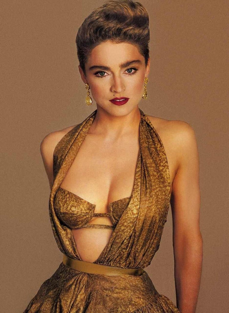 Brown Azzedine Alaia gold silk mid-length evening dress, ss 1987  For Sale