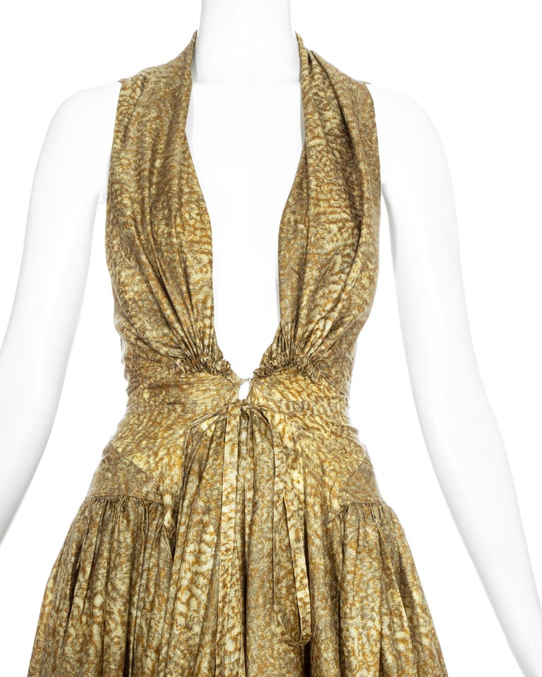 Azzedine Alaia gold silk mid-length evening dress, ss 1987  In Excellent Condition For Sale In London, GB