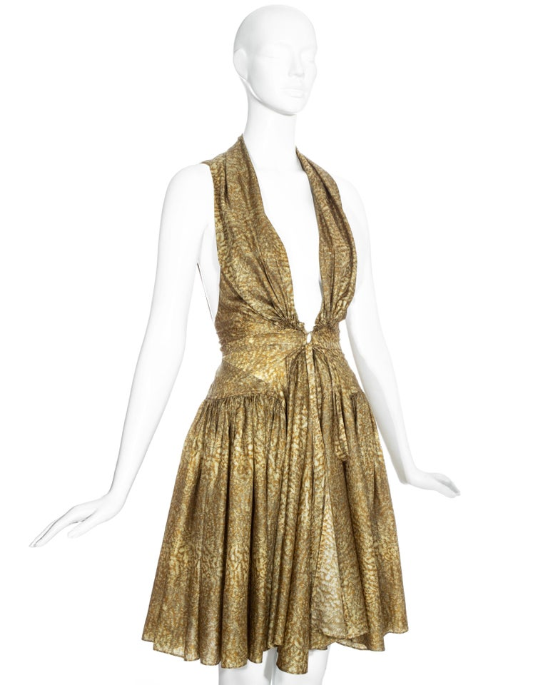 Women's Azzedine Alaia gold silk mid-length evening dress, ss 1987  For Sale