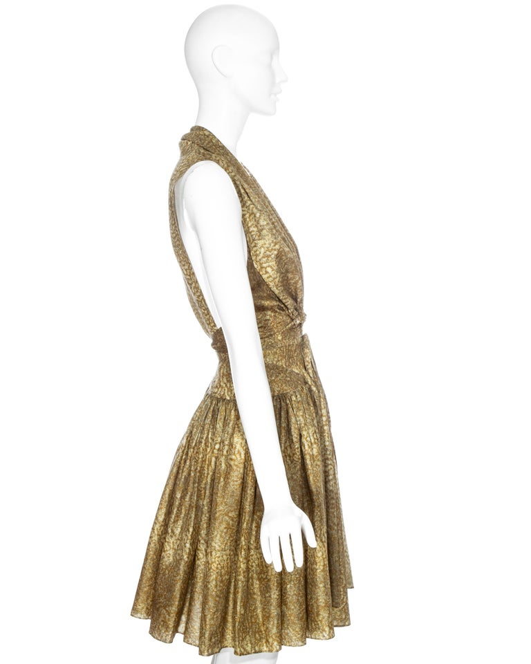 Azzedine Alaia gold silk mid-length evening dress, ss 1987  For Sale 2