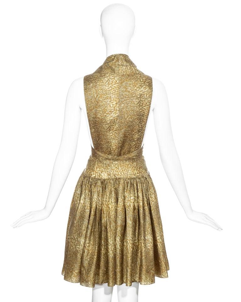 Azzedine Alaia gold silk mid-length evening dress, ss 1987  For Sale 3