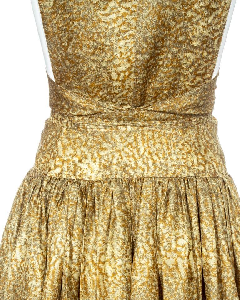 Azzedine Alaia gold silk mid-length evening dress, ss 1987  For Sale 4