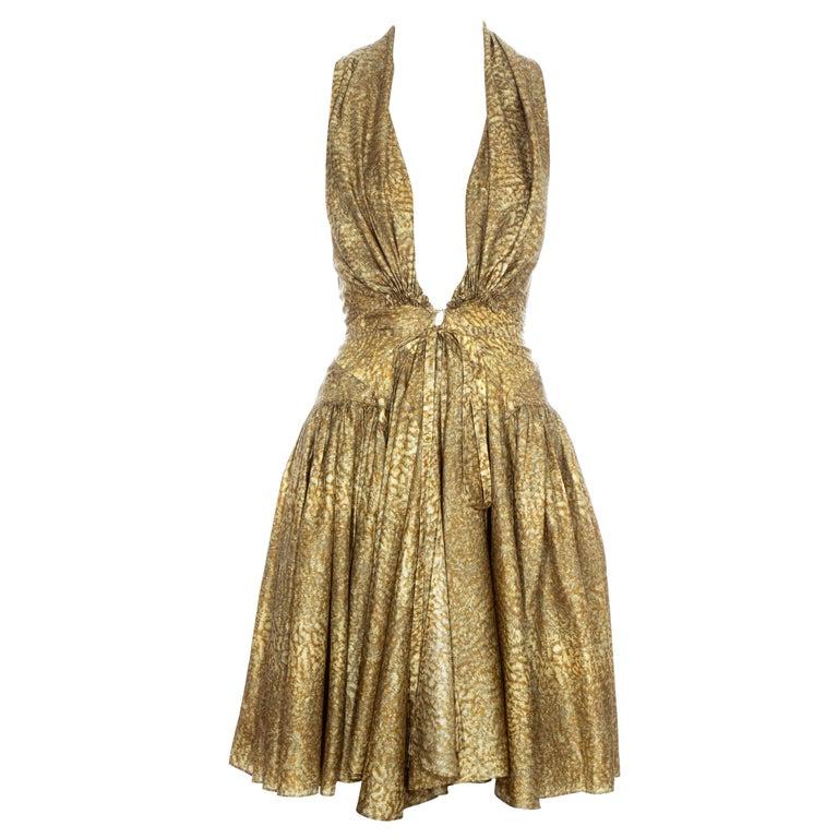 Azzedine Alaia gold silk mid-length evening dress, ss 1987  For Sale
