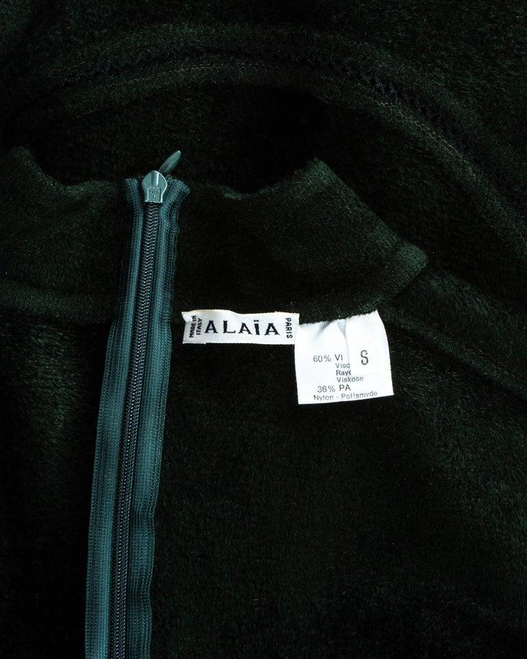 Azzedine Alaia green chenille bodysuit and leggings ensemble, fw 1991 5