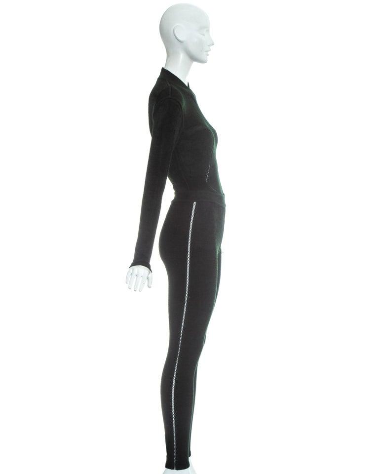 Azzedine Alaia green chenille bodysuit and leggings ensemble, fw 1991 2