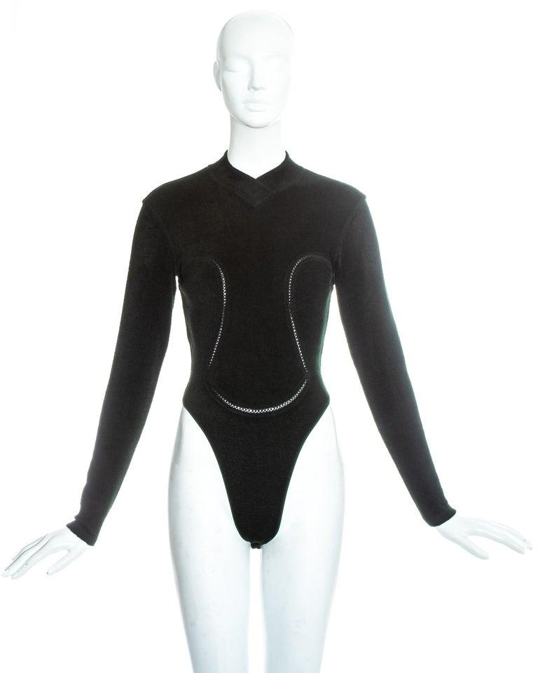Azzedine Alaia green chenille bodysuit and leggings ensemble, fw 1991 3
