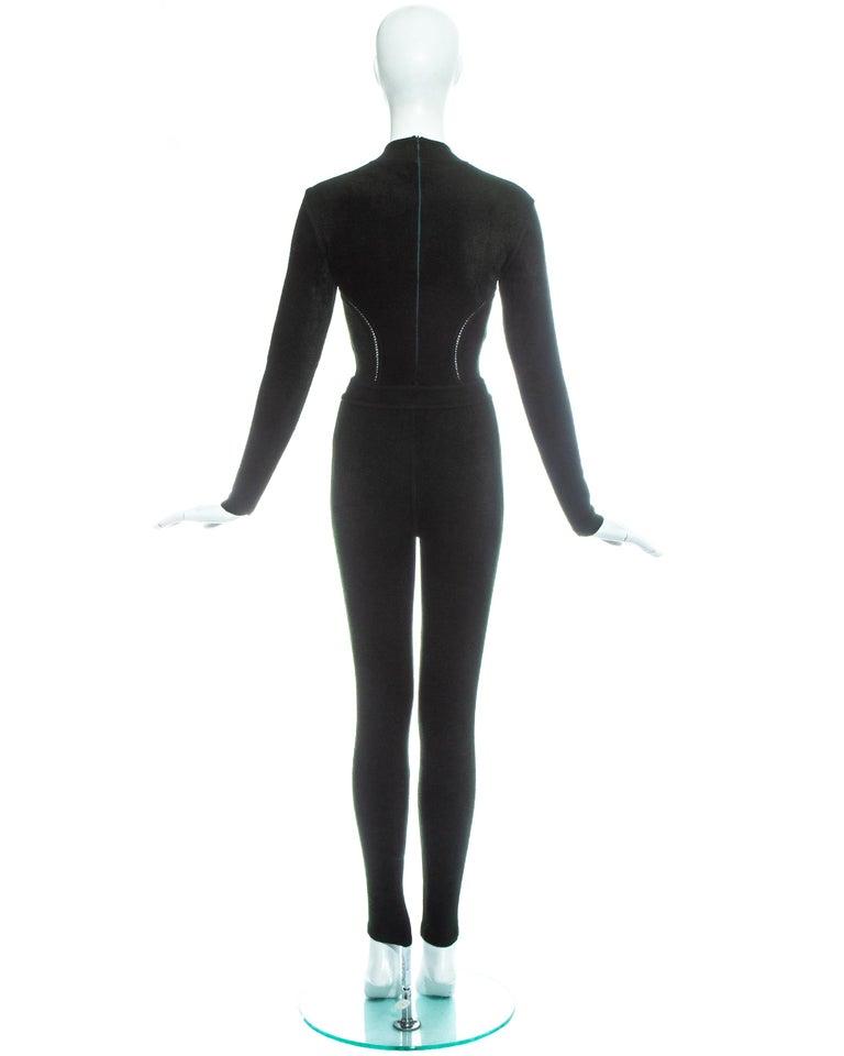 Azzedine Alaia green chenille bodysuit and leggings ensemble, fw 1991 4