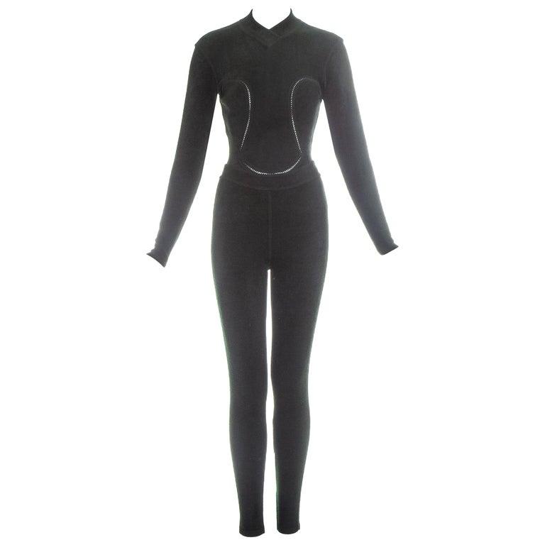 Azzedine Alaia green chenille bodysuit and leggings ensemble, fw 1991