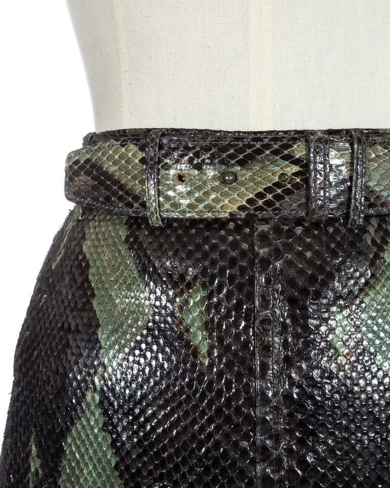 Azzedine Alaia green python mini skirt with lace up fastening, silk lining and matching belt.  Spring-Summer 1991