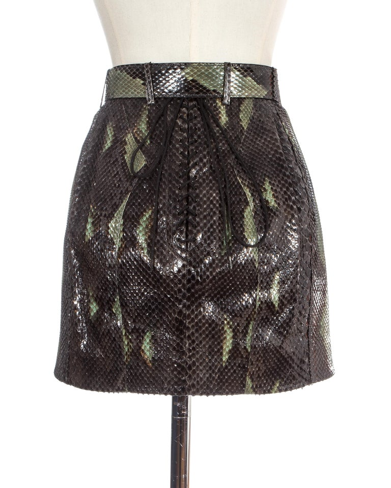 Women's Azzedine Alaia green snakeskin lace-up mini skirt with matching belt, ss 1991 For Sale