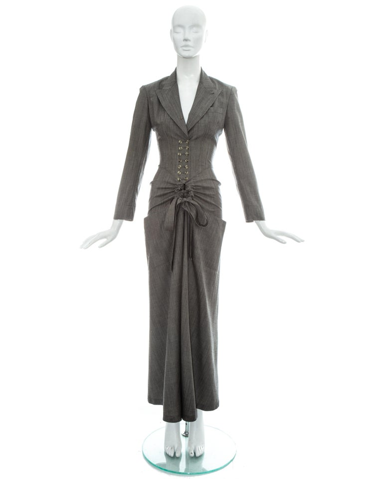 Gray Azzedine Alaia grey wool double breasted jumpsuit, ss 1988 For Sale