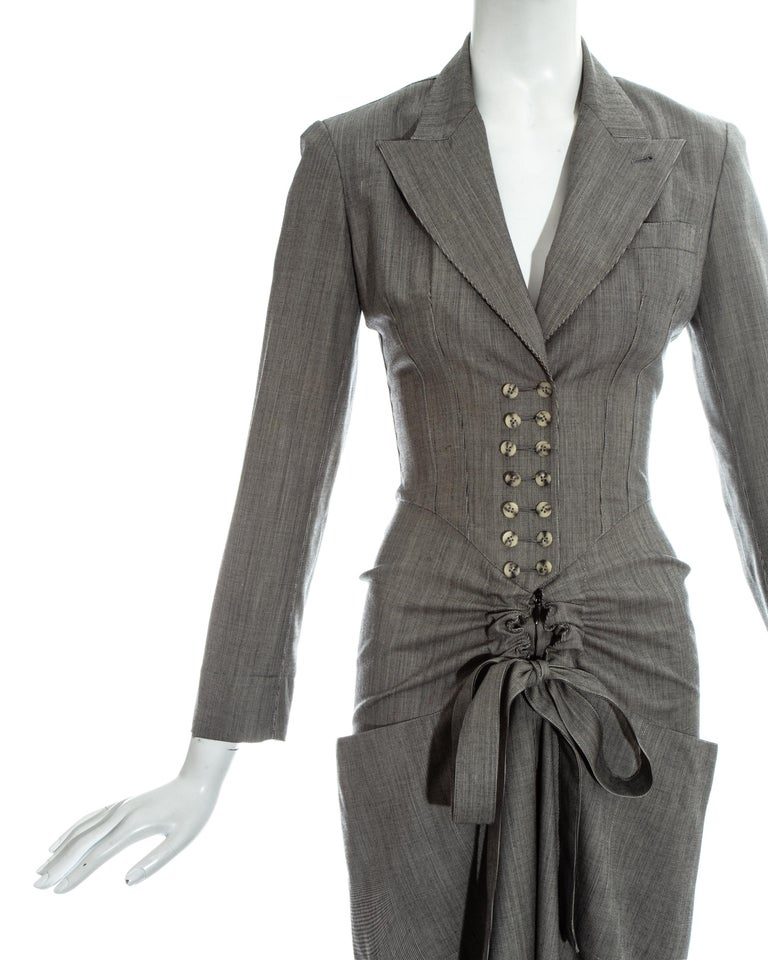 Azzedine Alaia grey wool double breasted jumpsuit, ss 1988 In Good Condition For Sale In London, GB